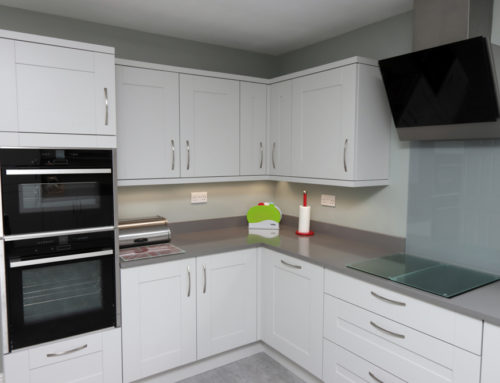 Light grey matt shaker door with a light grey quartz worktop