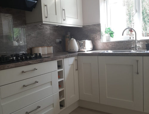 Ivory wood effect shaker with andorra brown granite effect laminate worktop