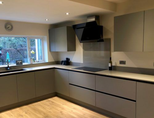 Urban cobble grey matt true handleless on an elegant grey quartz worktop